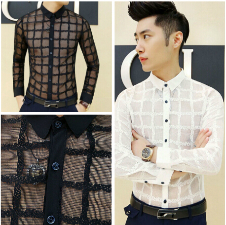 Summer Fashion Men S Sexy See Through Breathable Dress Casual Shirt