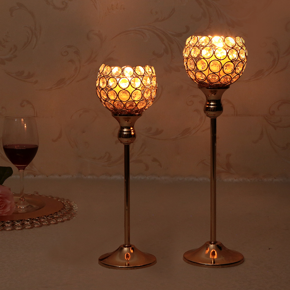 Crystal candle holders set metal silver candlestick