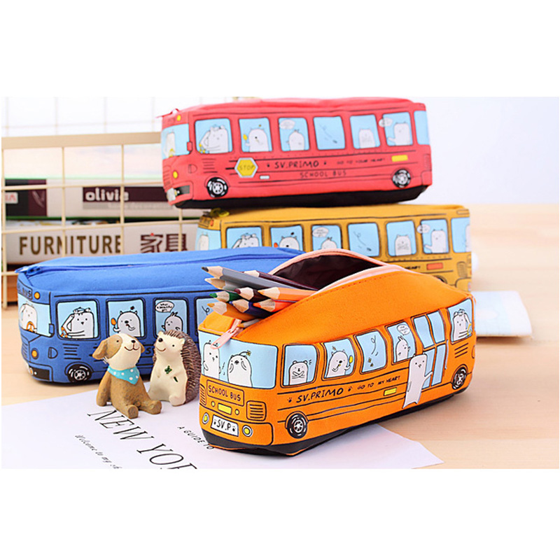 Cute Bus Style Pencil Case,lovly Outlook,large Capacity Canvas Pencil Bag,stationery,orange,red,yellow,blue Available