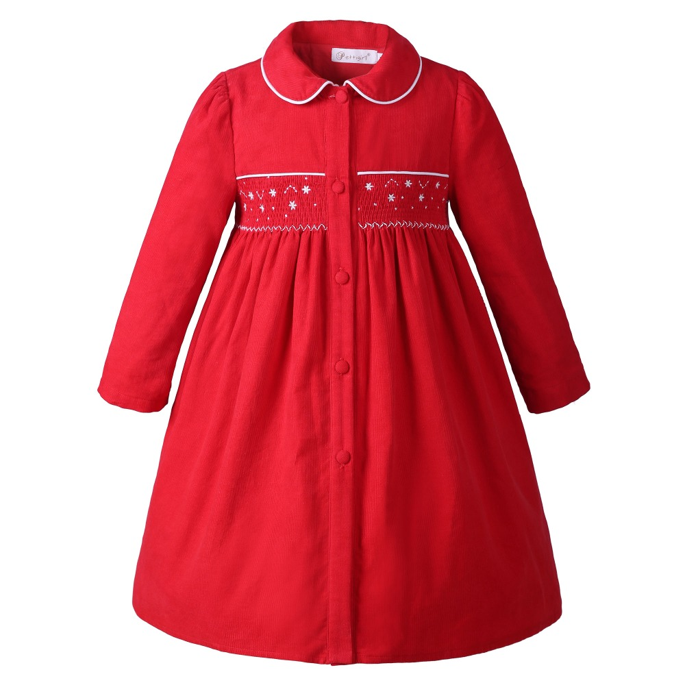 Pettigirl New Arrival Girl Smocking Coat Kids Autumn Long Sleeve Girls Wear Christmas Outfits Red G