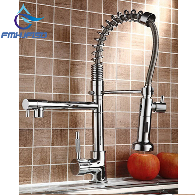 Hot Sale NEW Pull Our Spring Kitchen Faucet Chrome Brass Vessel Sink Mixer Tap Dual Sprayer Swivel Spout Hot And Cold Mixer Tap led spout swivel spout kitchen faucet vessel sink mixer tap chrome finish solid brass free shipping hot sale