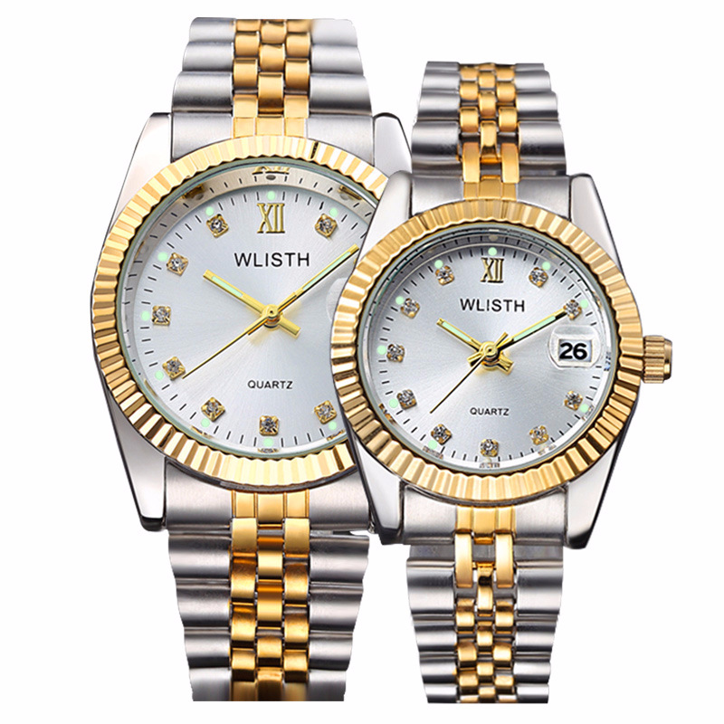 High Quality Watch Fashion Mens Watches Gold Stainless Steel Wristwatch Calendar Date Clock WLISTH Brand Luxury Women Waterproof