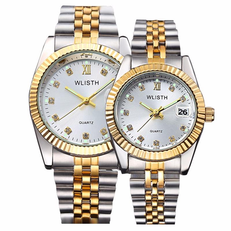 High Quality Watch Fashion Mens Watches Gold Stainless Steel Wristwatch Calendar Date Clock WLISTH Brand Luxury Women Waterproof