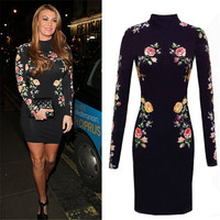Womens Elegant Flower Floral Printed Dress Long Sleeve Casual Bodycon Black Midi Sexy Evening Party