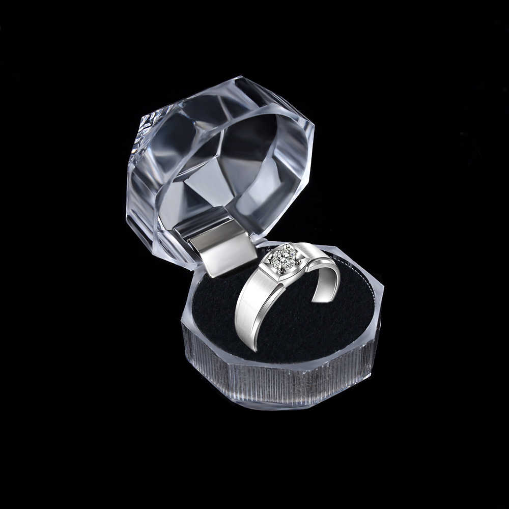 1 Pc Transparan Kristal Akrilik Kotak Cincin Anting-Anting Penyimpanan Tampilan Case Organizer Pernikahan Tempat Perhiasan Paket Kotak 3 Warna