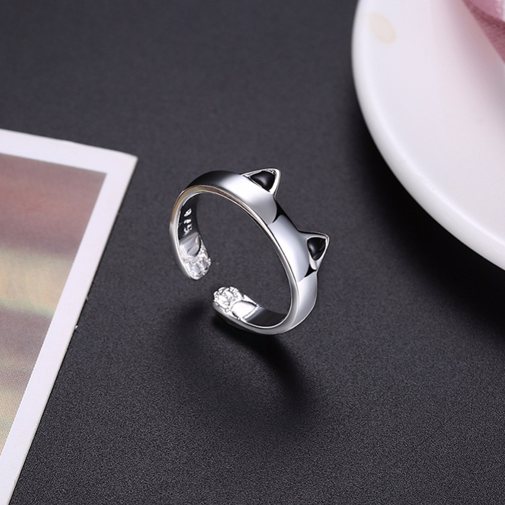 MEEKCAT 925 Silver Cat Ear Ring Cute Fashion Jewelry Cat Ring For Women Young Girl Child Gifts Adjustable Anel Wholesale LR0163