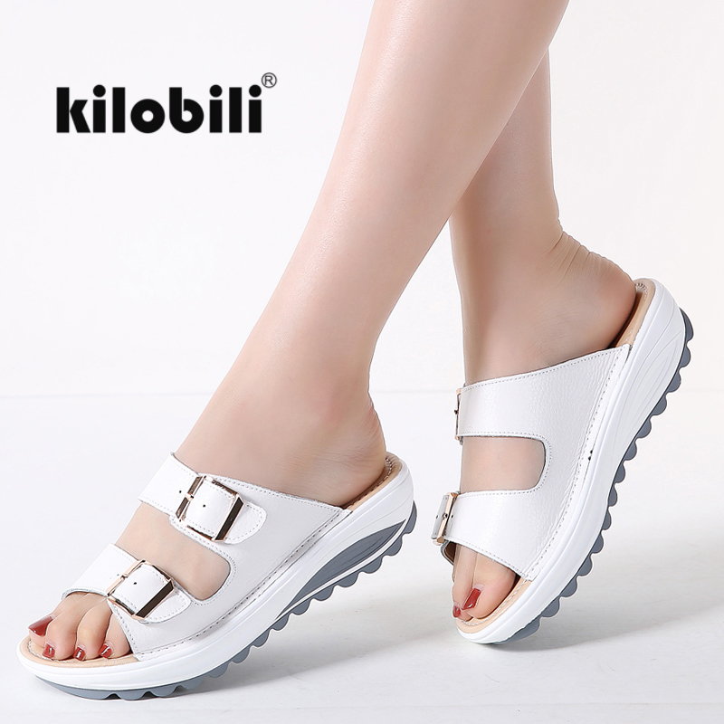 kilobili women slippers buckle real leather slides shoes solid thick sole heels beach sandals women outside