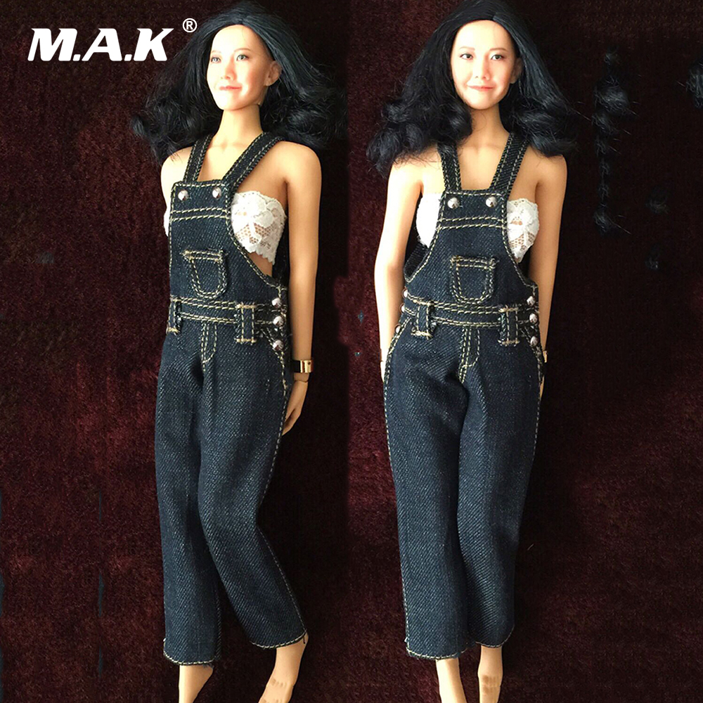 1/6 Scale 12 Inches Female Bodies Figures Belt Bib Pants Denim Jeans Accessories sokotoo men s colored painted snake 3d print jeans fashion black slim stretch denim pants
