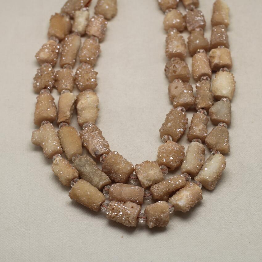 Couleur Champagne Druzy Achate pépite perles Bracelets, cylindre percé Drusy Geode pierres perles pour pendentif bijoux bricolage
