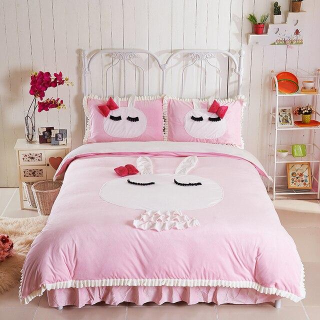 Kaninchen Rosa Weiss Lila Kristall Samt Bettbezug Bettlaken