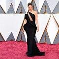 Mais recente Projeto de Um Ombro vestido Longo Preto Vestidos de Celebridades Vestido de Noite Oscar Awards 2017 Red Carpet Vestidos Robe De Soiree