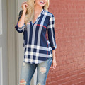 Fashion Summer Ladies Top Blouse Shirt V-neck Tops Tee Three Quarter Sleeve Casual Plaid Women Shirt Blusa Feminina