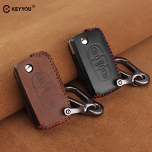 цена на KEYYOU Leather Car Key Case Cover For Peugeot 207 307 308 407 508 408 RCZ For Citroen C2 C3 C4 C5 C6 Picasso Fob Key Bag