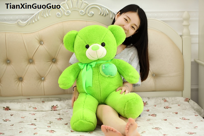 stuffed toy Large 100cm green teddy bear plush toy fruit apple design bear soft doll throw pillow birthday gift s0912 cute animal soft stuffed plush toys purple bear soft plush toy birthday gift large bear stuffed dolls valentine day gift 70c0074
