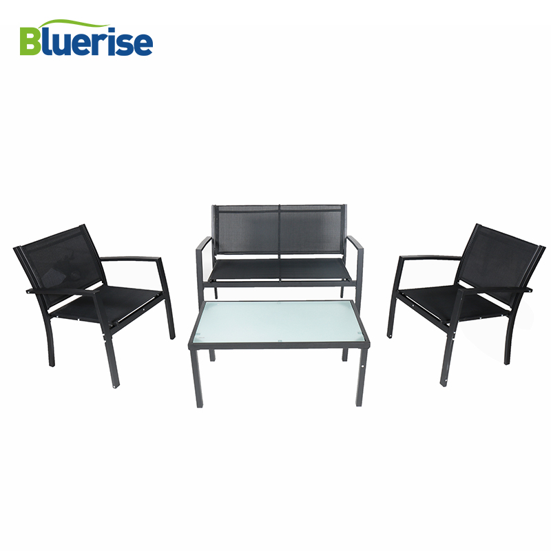 BLUERISE Outdoor Furniture garden balcony table chairs Set 4 Piece Black Frosted Glass Rust-resistant Steel Frame JYZ3001WF