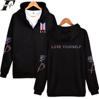 LUCKYFRIDAYF BTS LOVE YOURSELF Zipper Hoodies Sweatshirt Popular Autumn And Winter Fashion Hoodies Men Women Zipper