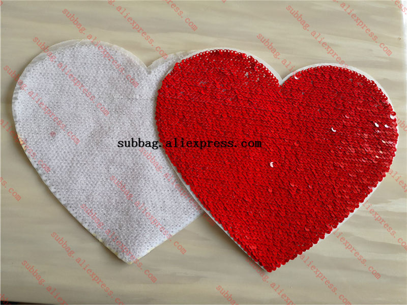 Sublimation Blank Sequins Heart Red Color Material With Back Glue Hot Transfer Printing Custom Diy Consumables 12pcs/lot
