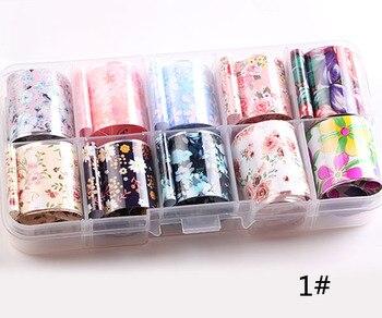 1set/lot 2.5*100cm Butterfly Spring Mix Flower Starry Sky Nail Foils set Transfer Sticker DIY Manicure Decoration Decals - 1