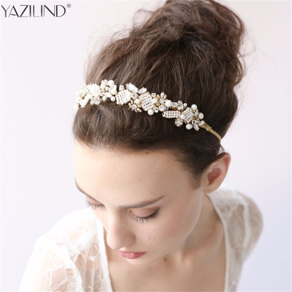 Wedding hair accessories christchurch - Exquisite Gold Flower Flower Crystal Wedding Hair Vine Headband Bridal Headpiece Hair Accessories China