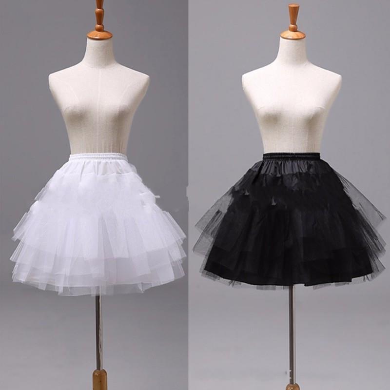 Top Quality White Black Short Petticoats 2018 Women A Line 3 Layers Underskirt For Wedding Dress Jupon Cerceau Mariage