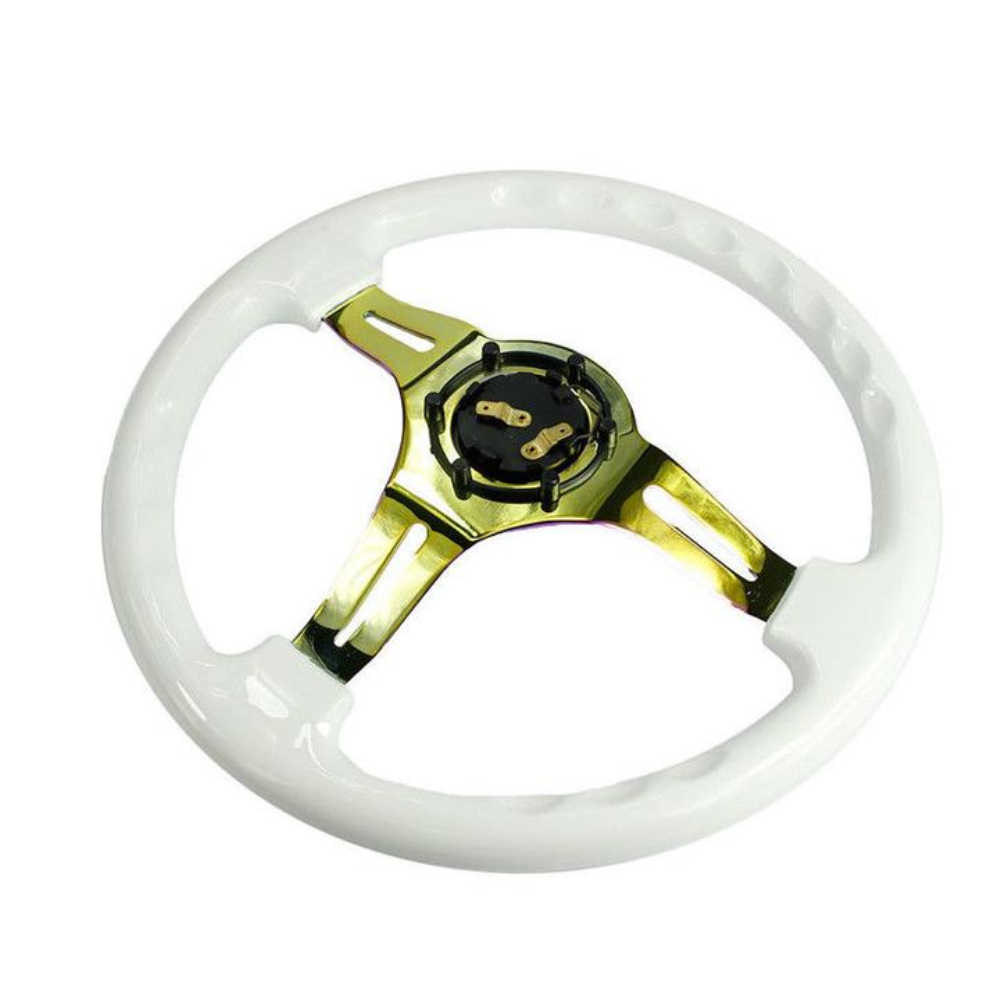 Black for 350mm ABS Deep Dished Racing Drifting Multicolour Steering Wheel 14 Neo Chrome Black /& White Set