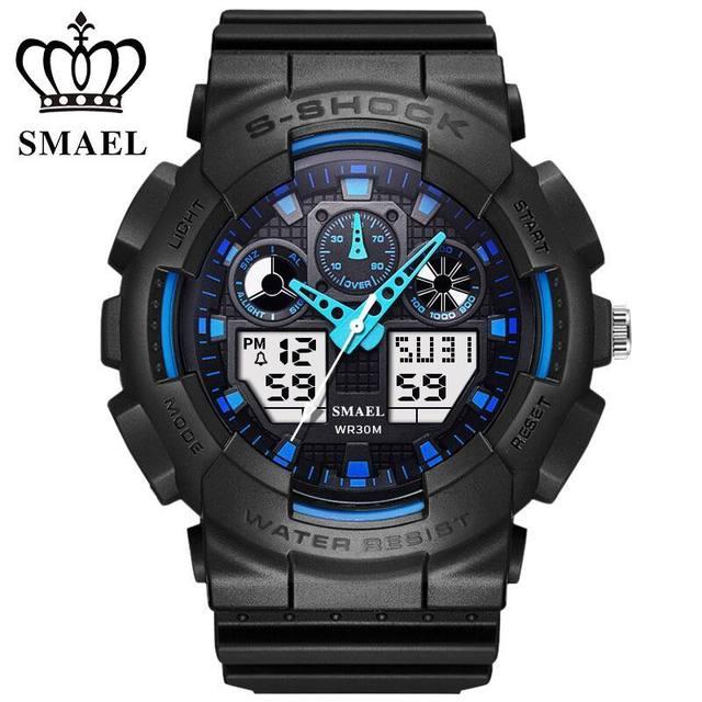 Smael militar lcd digital reloj de los hombres de primeras marcas de lujo famoso reloj deportivo hombre reloj electrónico reloj de pulsera relogio masculino