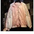 2016 Новая Коллекция Весна Женщины Пальто Марка Цветочной Вышивкой Куртка Весте Роковая Женщина Бомбардировщик Куртки Случайный Верхней Одежды Одежда