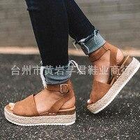 Summer Hot Sale Fashion Women Casual Pumps Wedges Sandals,Hemp Rope Buckle Design PU Leather Peep Toe Heels Breathable Sandals