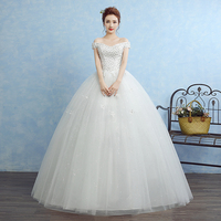 2018 New Arrival Mrs Win Sleeveless Organza Boat Simple Wedding Dress Neck Lace Up Ball Gown