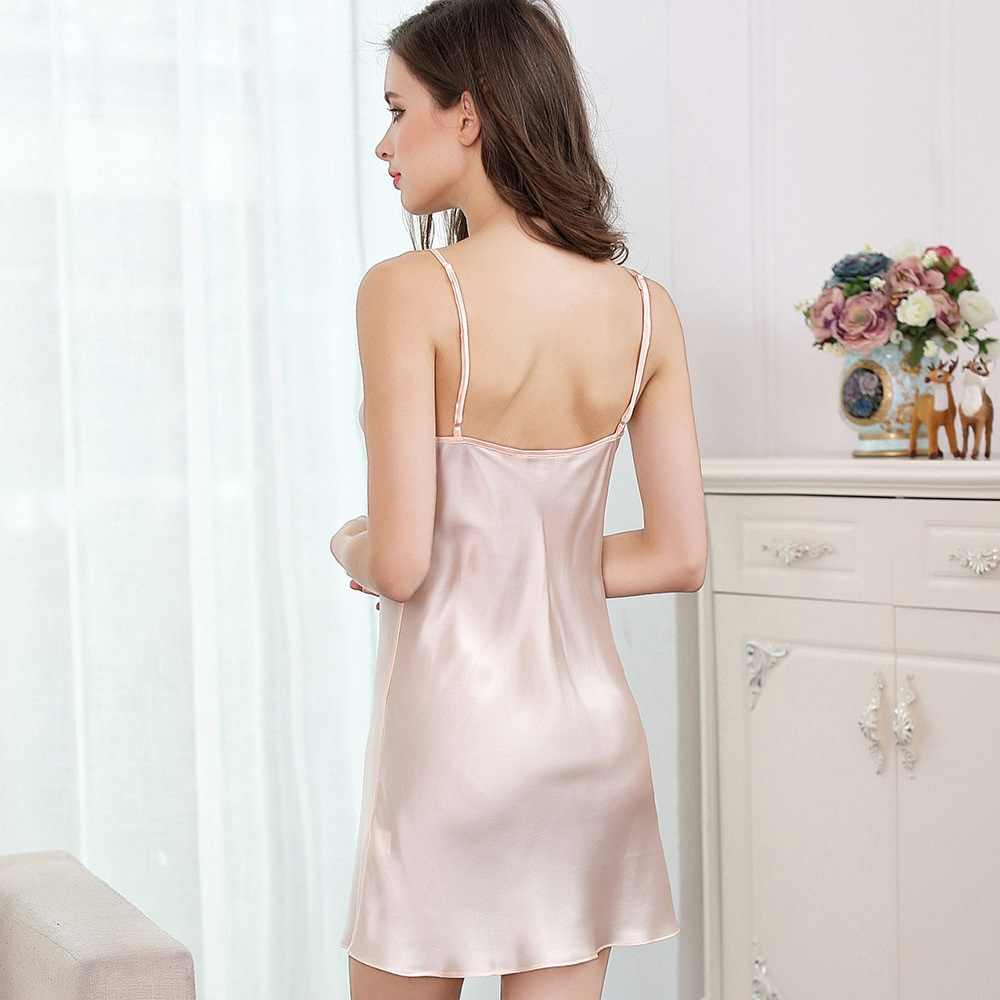 1a62e0f537 ... Solid Pure Silk Nightgown Women Sleep Dress Ladies Nightie Lace  Nightdress Chemises Slip Sleepwear Satin Nightwear ...