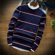 2018 Striped Mens Long Sleeve Sweater Fall with Winter Men Fashion Business Comfort Hot Sale Slim Size 2XL Multi-color Selection