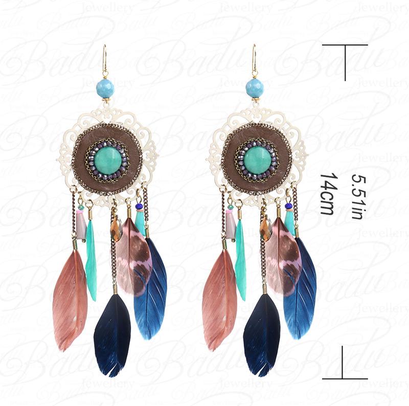 HTB1MR2xcGigSKJjSsppq6ybnpXaV - [Clearance] Women Vintage Bohemian Feather Earrings Filigree Colorful Feathers