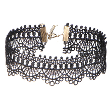IF ME Black Sexy Lace Short Tattoo Choker Necklaces Hollow Steampunk Necklace Collares For Women Party Gothic Jewelry