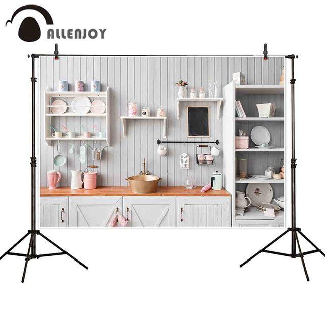 Allenjoy kitchen photography background white stripes kitchenware cupboard portrait backdrop photocall photobooth banner fabric