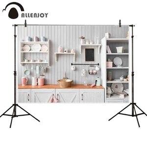 Image 2 - Allenjoy キッチン写真撮影の背景白木製の食器棚台所用品の肖像画の背景 photocall photobooth バナー反