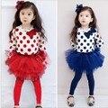 Sistemas de los niños Nueva chica trajes de dos piezas de la manga llena de bebé Feliz cumpleaños camiseta + de la torta faldas de la muchacha ropa de primavera y Otoño