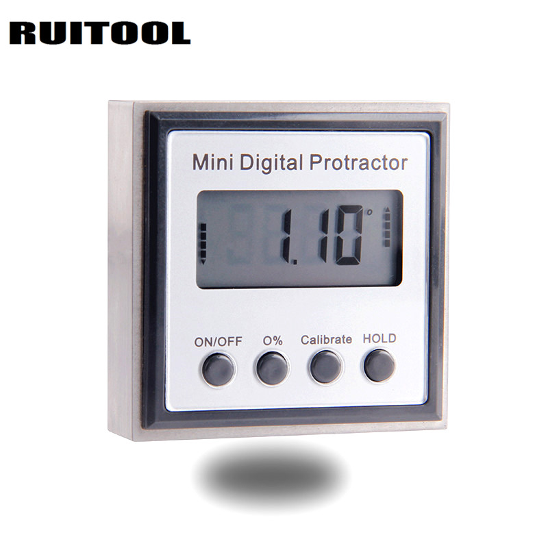 RUITOOL Mini Digital Angle Ruler Protractor Finder Inclinometer Stainless Steel Magnetic Electronic Level Measuring Instruments 2pcs dual side stainless steel measuring straight ruler 300mm 12 inch