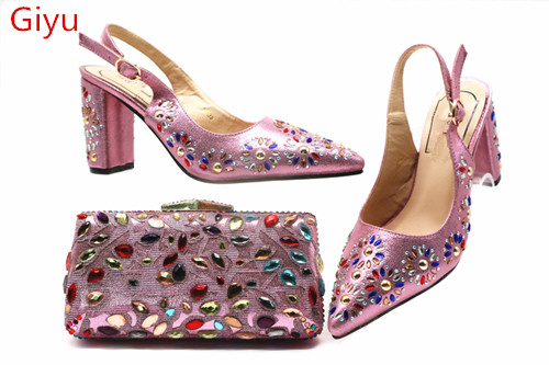 new coming Matching Women Shoe and Bag Set Decorated pink Nigerian Shoes and Bag Set Italy Shoes and Bag set ! HSN1-4new coming Matching Women Shoe and Bag Set Decorated pink Nigerian Shoes and Bag Set Italy Shoes and Bag set ! HSN1-4