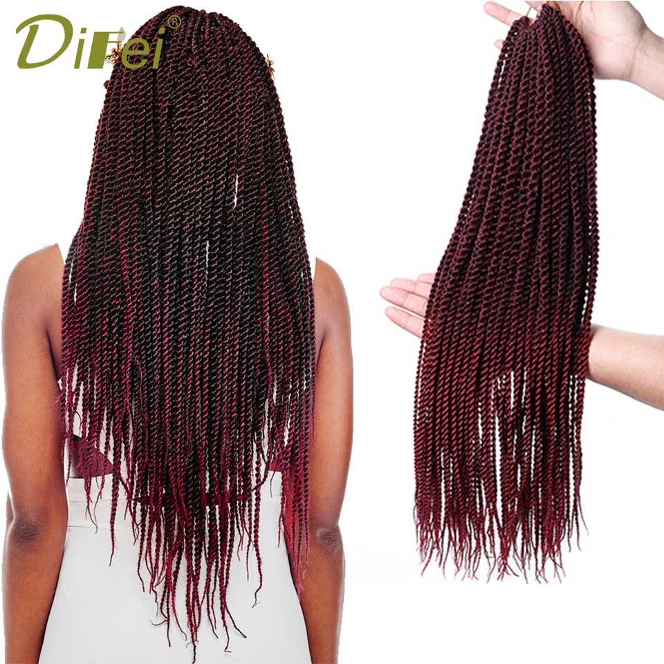 DIFEI Products Twist Crochet Hair Extensions 1 7Packs Ombre Kanekalon Crochet Braids Sen ...