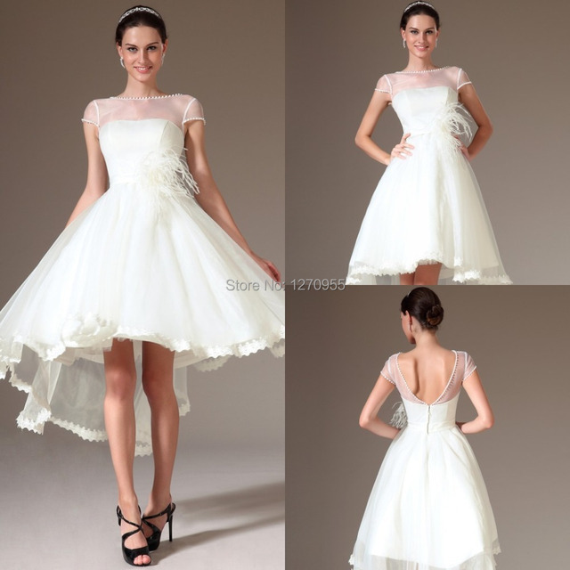 Off Shoulder Organza A Line Fashion Short Wedding Dresses Feathers