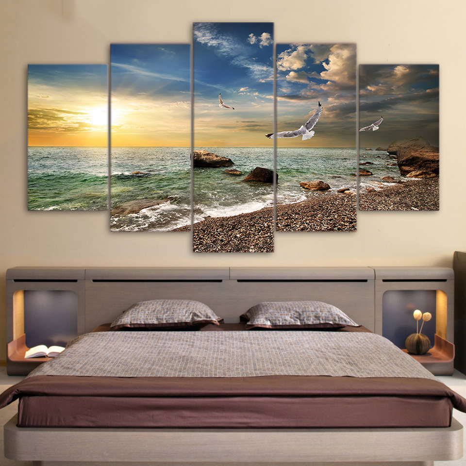 Canvas Wall Art Pictures Frame Kitchen Restaurant Decor 5 Pieces Sunset Landscape Animal Seagull Beach Living Room Print Posters