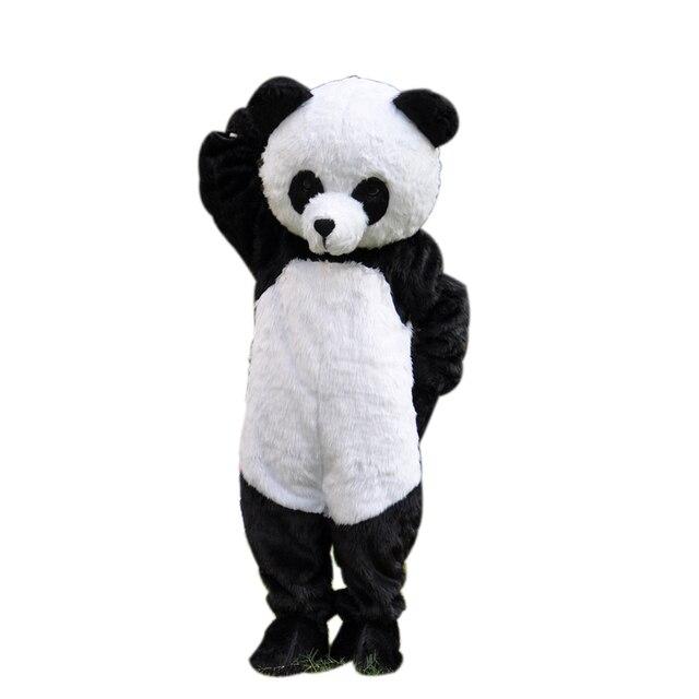 New Version Long Plush Panda Mascot Adult Costume For Life Size Full