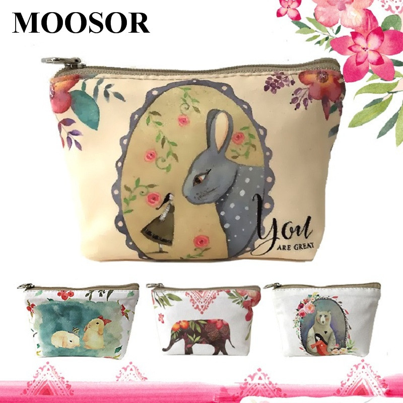Women Wallet Purse 10pcs/lot Canvas Coin Purse Travel Organizer 8 Colors Floral Women Storage Bag Day Clutch Card Holders H21T