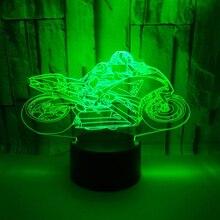 3D светодио дный светодиодный ночник moto rcycle moto с 7 цветов свет для украшения дома лампы удивительный визуализации Иллюзия подарок