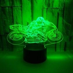 3D LED Light Night moto rcycle moto z 7 Kolorów Światła do Dekoracji Wnętrz Lampy Niesamowite Wizualizacji Illusion prezent w Oświetlenie nocne LED od Lampy i oświetlenie na