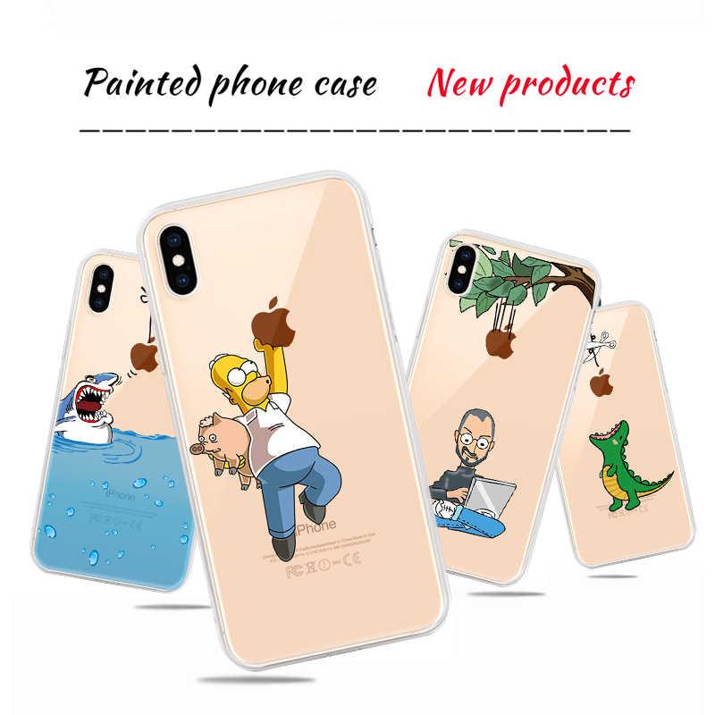 Mignon requin dinosaure dessin animé téléphone étui pour iPhone XS Max XR XS X Transparent doux imprimé couverture Fundas Capa pour iPhone 7 8 Plus