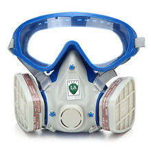 الغاز غطاء شامل الطلاء قناع كيميائي و نظارات المبيدات الغبار النار الهروب تنفس قناع مرشح الكربون