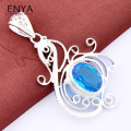 New Fashion Perfect Jewelry Sky Blue Synthetic Topaz Pendant High Quality Silver Plated Pendant For Women P0960