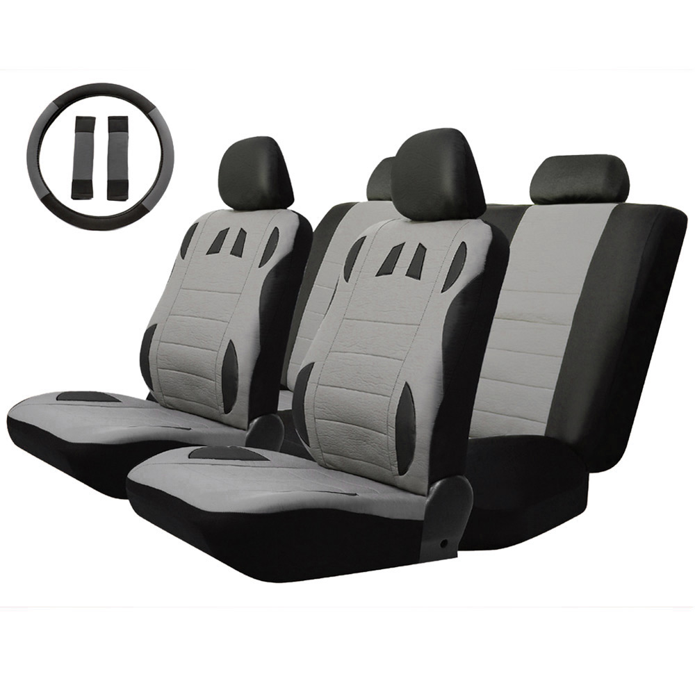 T20634 13pcs Car Seat Cover Set Anti-Dust PU Leather Auto Cushion Protector Steering Wheel Belt Pads universal fits Black Gray