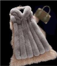 Winter Artificial Vest New Arrival Fashion Women Import Coat Fur Vest High-Grade Faux Fur Coat Fox Fur Long Vest Plus Size S-4XL